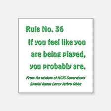 "RULE NO. 36 Square Sticker 3"" x 3"""