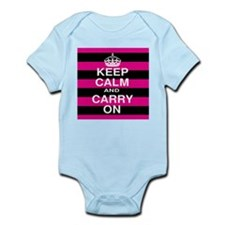 Keep Calm Hot Pink and Black Stripes Body Suit