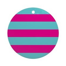 Hot pink and dark teal stripes Ornament (Round)