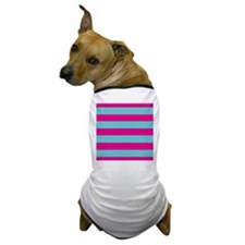 Hot pink and dark teal stripes Dog T-Shirt