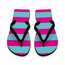 Hot pink and dark teal stripes Flip Flops
