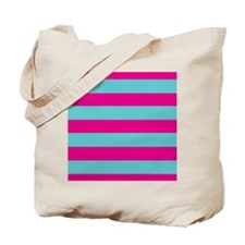 Hot pink and dark teal stripes Tote Bag