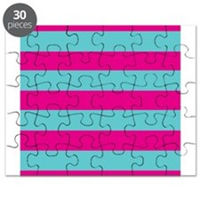 Hot pink and dark teal stripes Puzzle