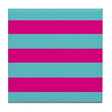 Hot pink and dark teal stripes Tile Coaster
