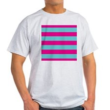 Hot pink and dark teal stripes T-Shirt