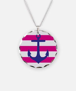 Hot Pink and Navy Anchor Necklace