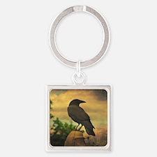 Unique Raven Square Keychain