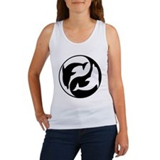 Black  And White Yin Yang Dolphins Tank Top