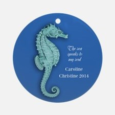 Personalized Seahorse Christmas Ornament (round)