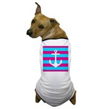 Teal and Pink Striped Anchor Dog T-Shirt