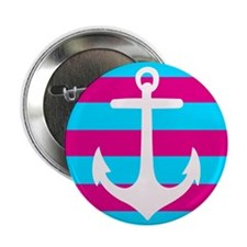 "Teal and Pink Striped Anchor 2.25"" Button"