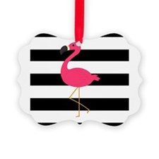 Pink Flamingo on Black and White Ornament