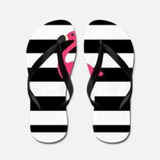 Pink Flamingo on Black and White Flip Flops
