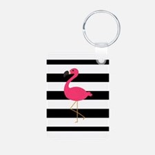 Pink Flamingo on Black and White Keychains