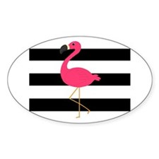 Pink Flamingo on Black and White Decal