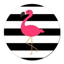 Pink Flamingo on Black and White Round Car Magnet