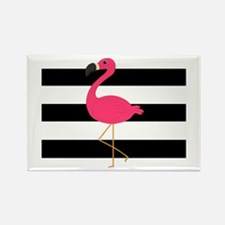 Pink Flamingo on Black and White Magnets