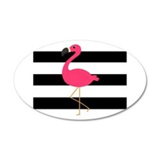 Pink Flamingo on Black and White Wall Decal