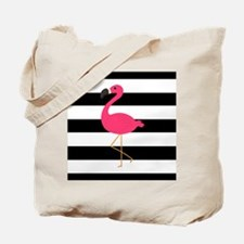 Pink Flamingo on Black and White Tote Bag