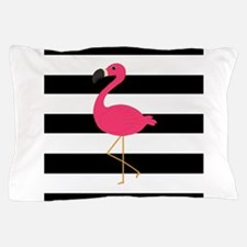 Pink Flamingo on Black and White Pillow Case