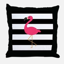 Pink Flamingo on Black and White Throw Pillow