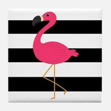 Pink Flamingo on Black and White Tile Coaster