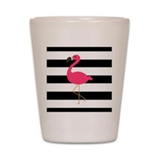 Pink Flamingo on Black and White Shot Glass