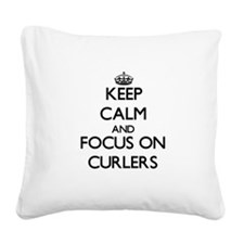 Cute I heart curling Square Canvas Pillow