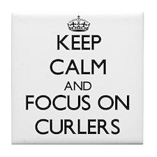 I heart curling Tile Coaster