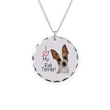 I Love My Rat Terrier! Necklace Circle Charm