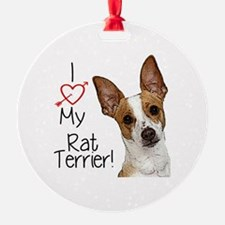 I Love My Rat Terrier! Ornament