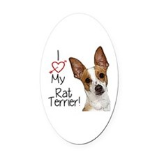 I Love My Rat Terrier! Oval Car Magnet