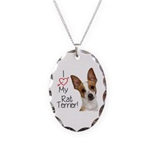 I Love My Rat Terrier (Large) Necklace Oval Charm