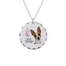 I Love My Rat Terrier (Large Necklace Circle Charm