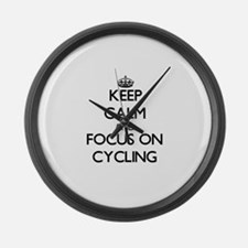 Keep calm cycle on Large Wall Clock