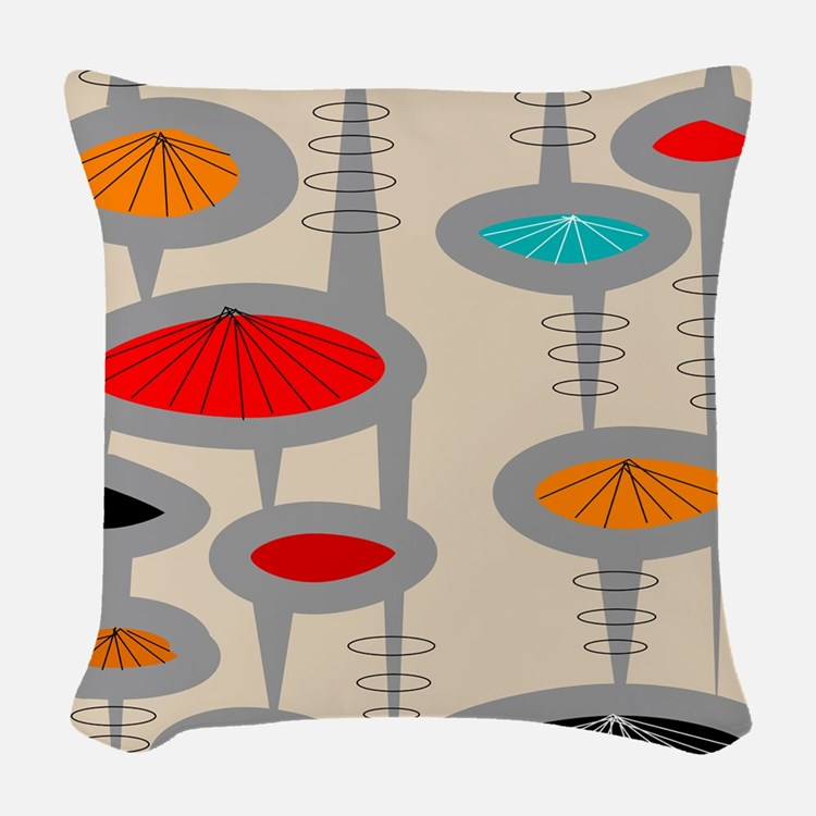 Atomic Era Inspired Woven Throw Pillow