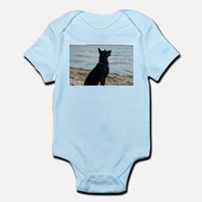 Black GSD at the Beach Body Suit