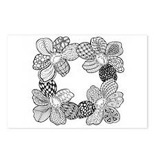 Black and White Dahlia Flower Sketch Postcards (Pa
