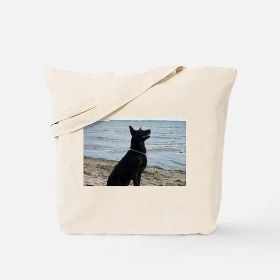 Black GSD at the Beach Tote Bag