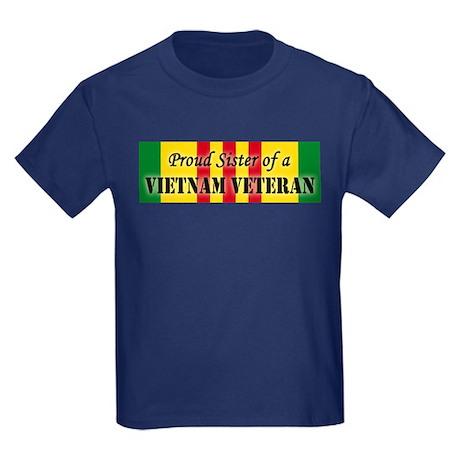 Proud Sister of a Vietnam Vet Kids Dark T-Shirt