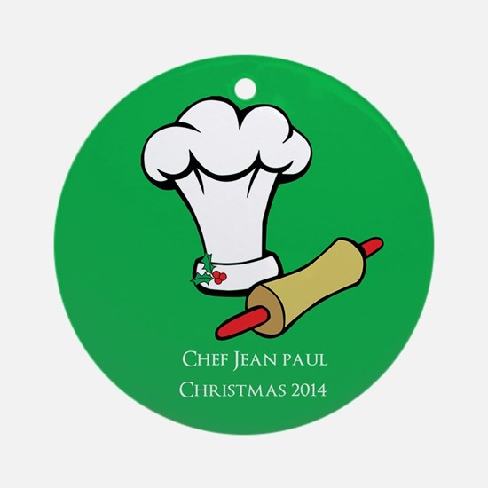Personalized Chef/cook Christmas Ornament (round)