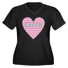 Cheer Heart Women's Plus Size V-Neck Dark T-Shirt