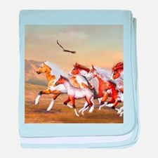 Wild Horses Herd baby blanket