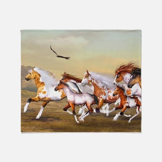 Wild Horses Herd Throw Blanket
