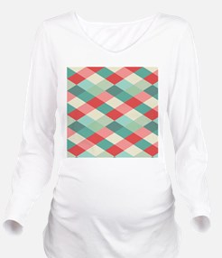 Red and Green Harleq Long Sleeve Maternity T-Shirt