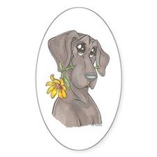 NBlu Flower pup Oval Decal