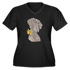 NBlu Flower pup Women's Plus Size V-Neck Dark T-Sh