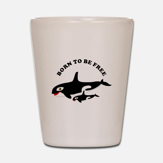 Free the whales Shot Glass