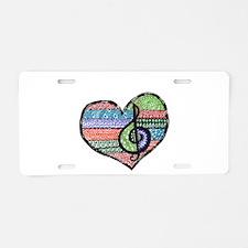 Personalized Music Doodle Hea Aluminum License Pla