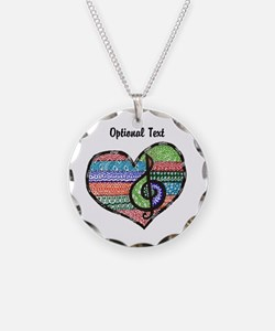 Personalized Music Doodle Hea Necklace Circle Char